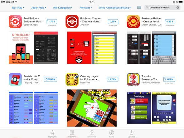 Hier Bilder zu den Apps, die ich meine - (Internet, App, Pokemon)