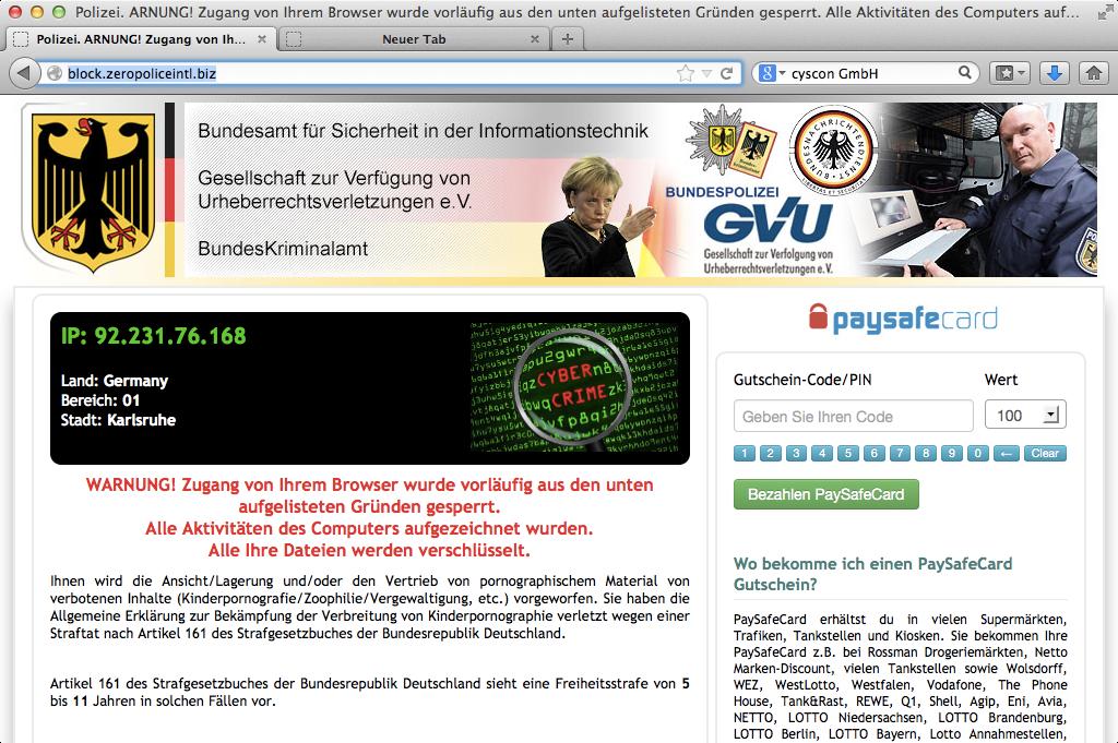 browser gesperrt paysafe