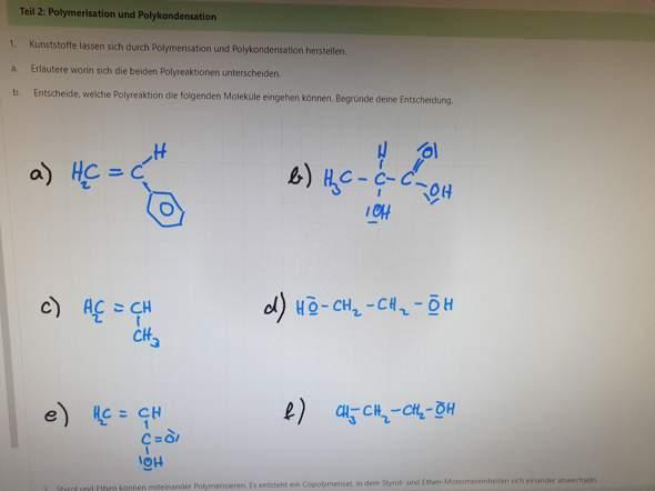Polymerisation und polykondensation?