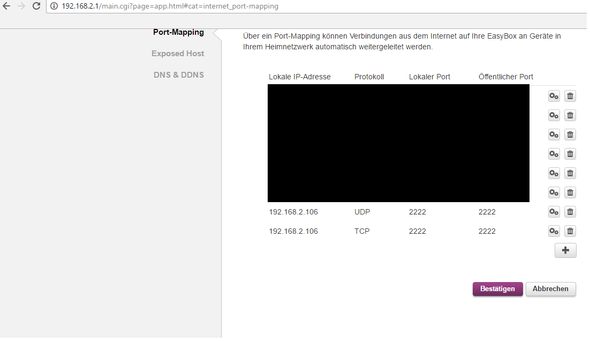 port mapping - (PC, Internet, Vodafone)