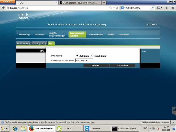 DMZ von Cisco EPC3208G  - (Computer, PC, Internet)