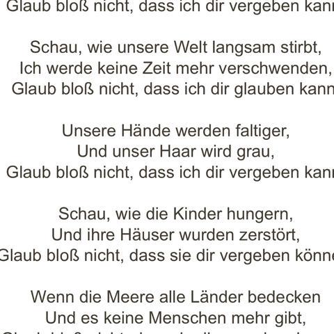 Deutsche Lyrics von prayer in c 🎶 - (Musik, Lied, Radio)