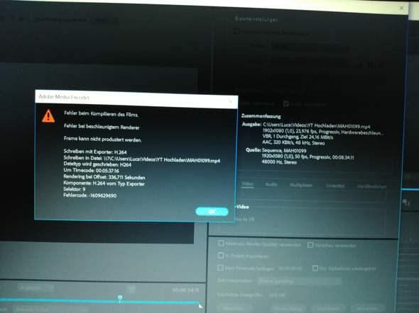 Premiere Pro Export fehlermeldung?