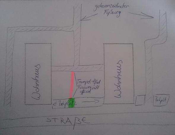 Skizze  - (Mietrecht, Parkplatz, Wegerecht)