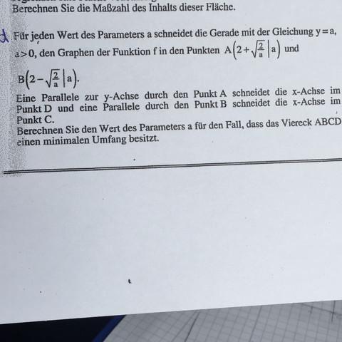 Handelt sich um diese Aufgabe  - (Mathe, Oberstufe, Extremwertaufgaben)
