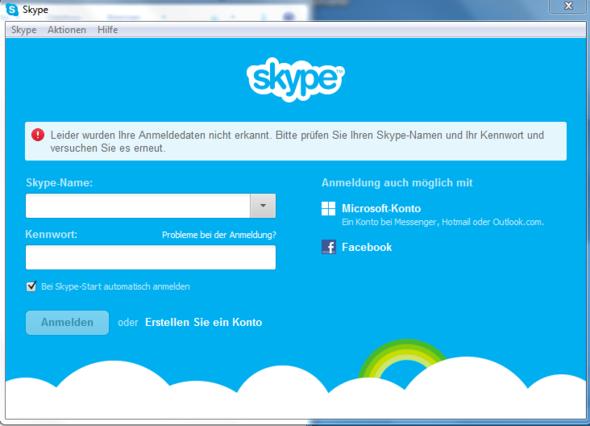 skype anmeldung nicht möglich