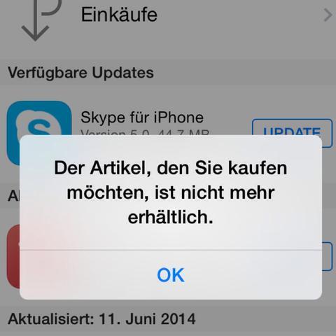 Das Ist die Fehlermeldung  - (iPhone, Apple, Skype)