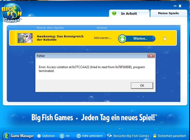 Problem mit big fish games computer technik fehlermeldung for Big fish games jobs