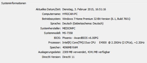 Systeminformationen - (PC, Grafikkarte, Absturz)