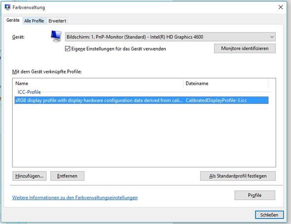 Farbverwaltung Windows 10 - SRGB - (Windows 10, Nvidia, Adobe)