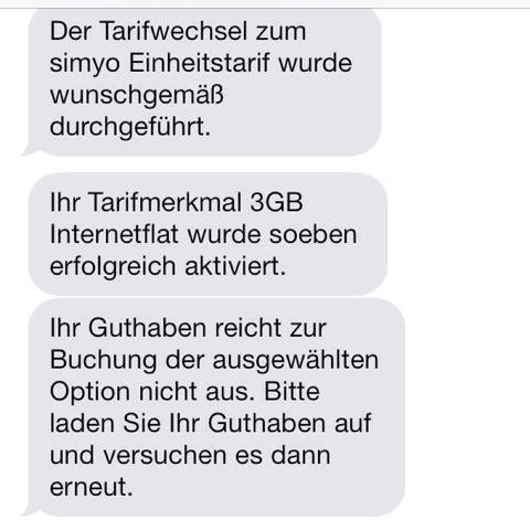 Hier die SMS von Simyo - (Handy, Guthaben, Flat)