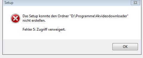 Fehlerbericht bei Installation (Tritt bei allen Installationen auf) - (Festplatte, schreibgeschützt, keine Rechte)