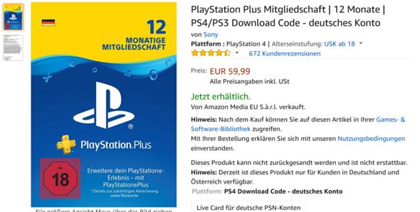 Playstation Karte.Ps Plus Karte Spiele Games Ps4