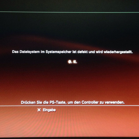 BILD nach der ersten system Wiederherstellung!  Danach noch mal das selbe!  - (PS3, Error, Systemwiederherstellung)