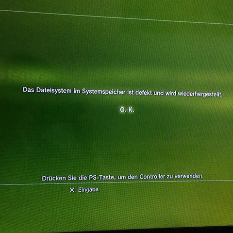 Das ist der Bildschirm der immer da steht  - (PS3, kaputt, defekt)