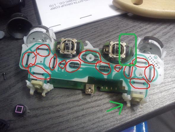grün umkreist Gehäuse mit Kontakt für vert. Achse - (Computer, Playstation)