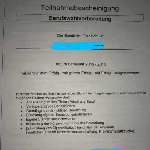 Mein BWV Zeugnis - (Schule, Ausbildung, Betrieb)