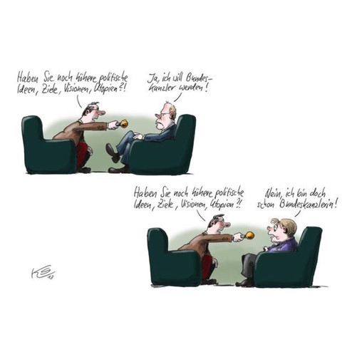 """diese Karikatur ist von Klaus Stuttmann mit dem Titel """"Utopien""""  - (Politik, Wirtschaft, Analyse)"""