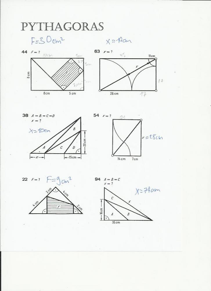 Enchanting Pythagoras Arbeitsblatt Gallery - FORTSETZUNG ...