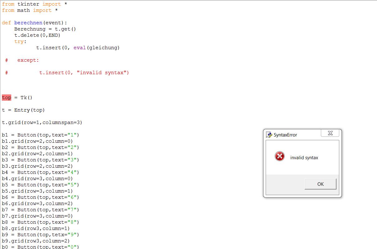 Python Taschenrechner mir graphischer Benutzeroberfläche