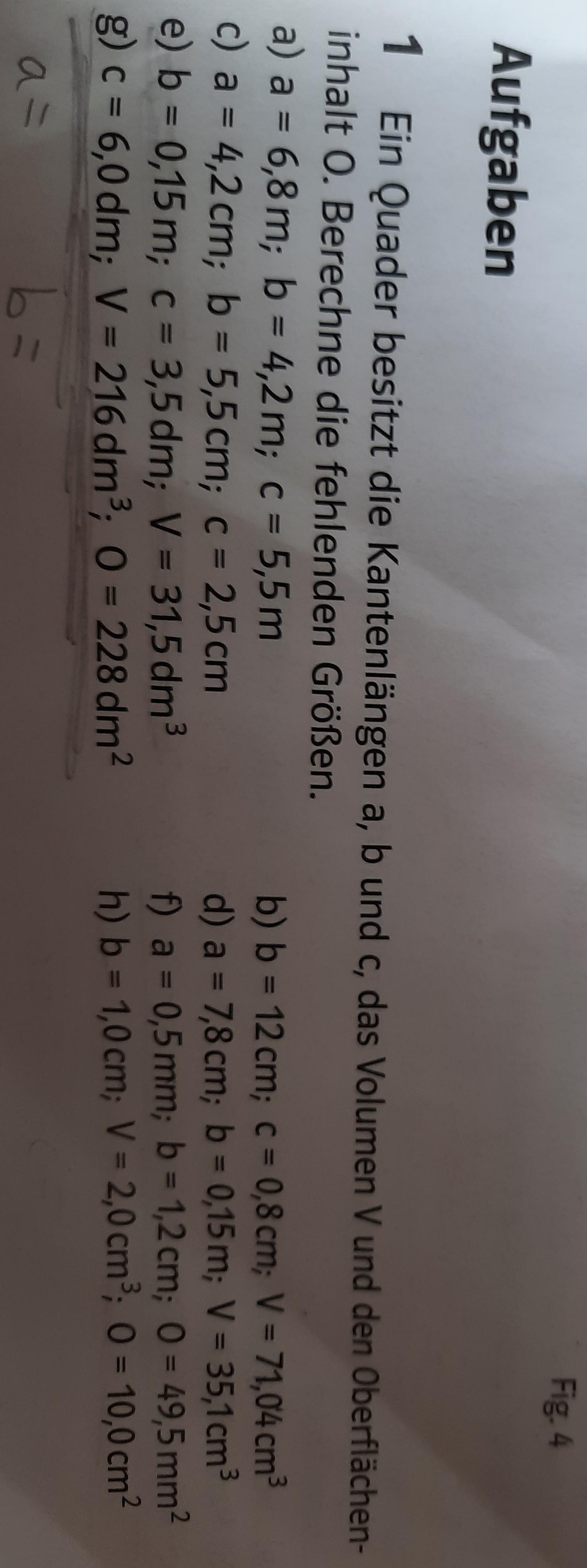 Quader V O c gegeben a b berechnen? (Schule, Mathe ...