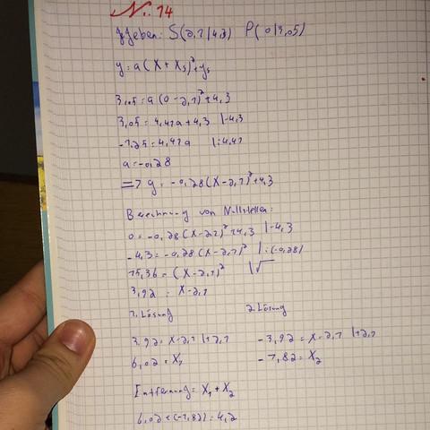 quadratische funktionen ist meine rechnung richtig mathe. Black Bedroom Furniture Sets. Home Design Ideas