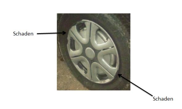 Meine Radkappe weist zwei Schäden auf, die ich bei der Entstehung nicht merkte! - (Auto, Unfall, Winter)