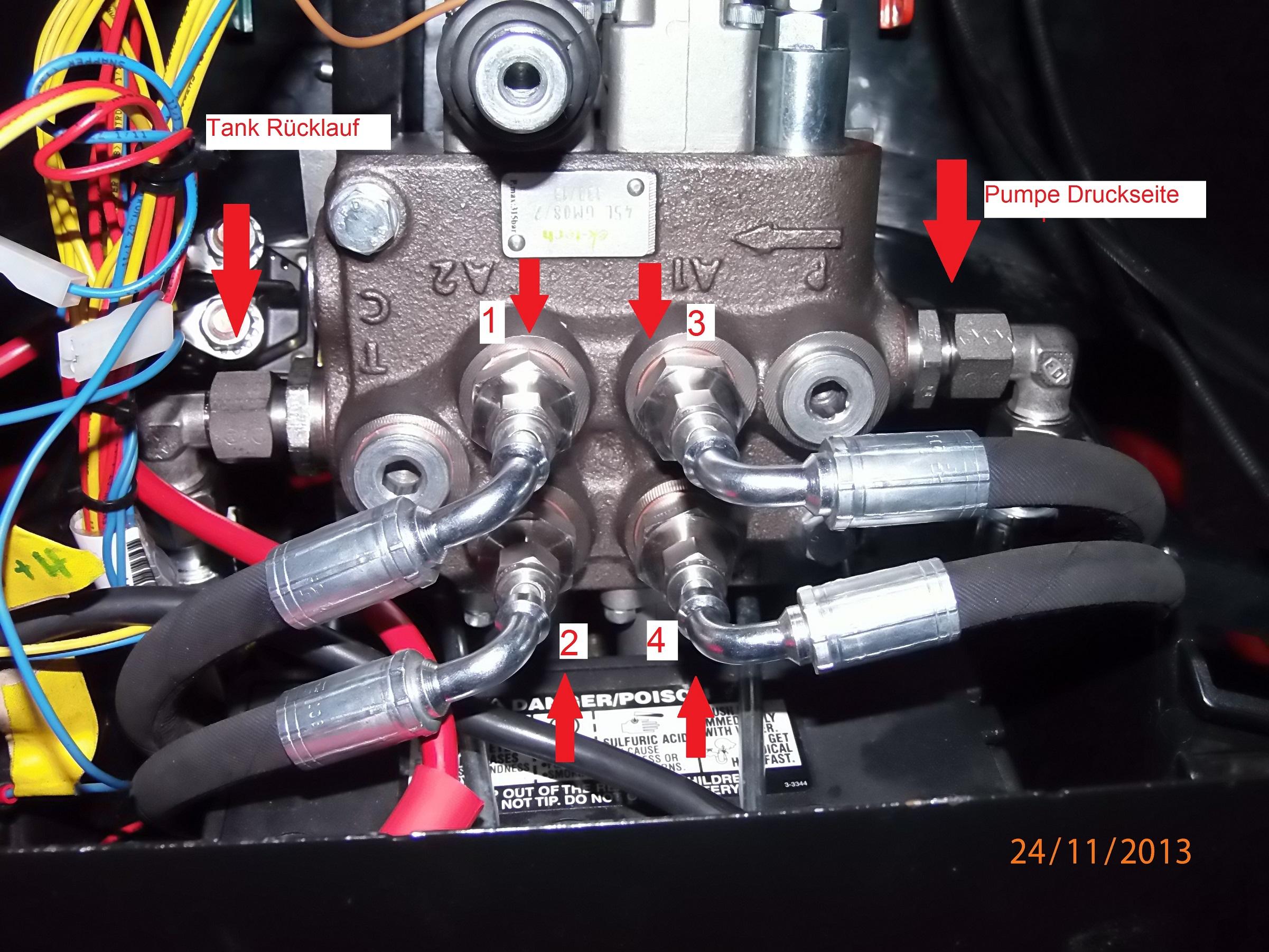 Rasentraktor Hydraulikproblem - Doppelwirkender Zylinder fährt nur ...