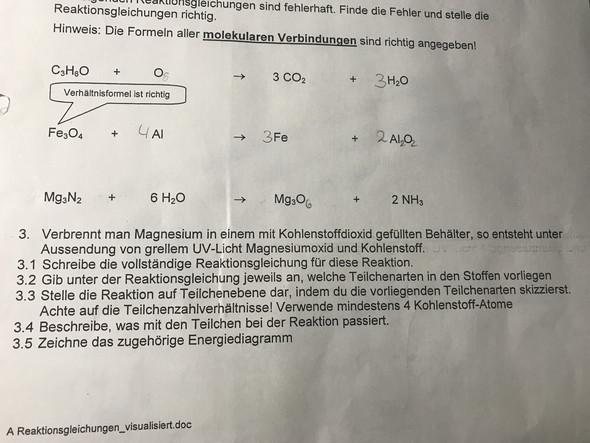 Reaktionsgleichung Magnesium Kohlenstoffdioxid?