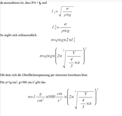 Formeln für die Oberflächenspannung - (Mathe, Mathematik, Physik)
