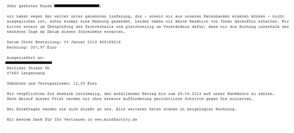 Email - (Mahnung)