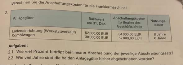 Rechnungswesen, Abschreibung?
