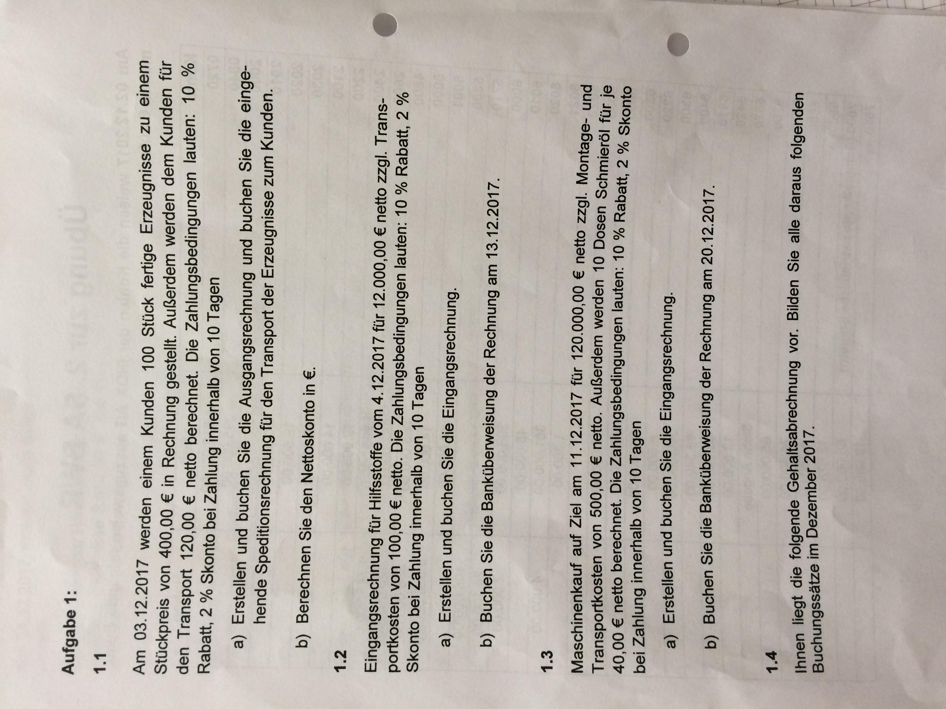 Rechnungswesen Bestandsveränderung Schule Buchungssatz