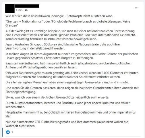 Rechtsextremer Facebook-Beitrag?