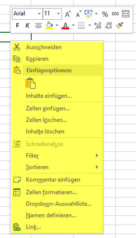 Gelb markierte erscheint nicht - (Excel, rechtsklick, kontextmenue)
