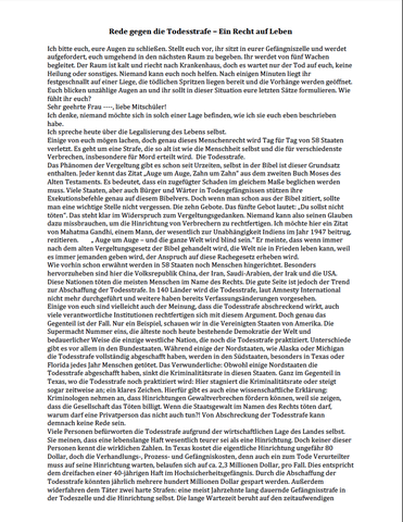 rede gegen die todesstrafe 1 deutsch usa strafrecht - Rede Beispiel