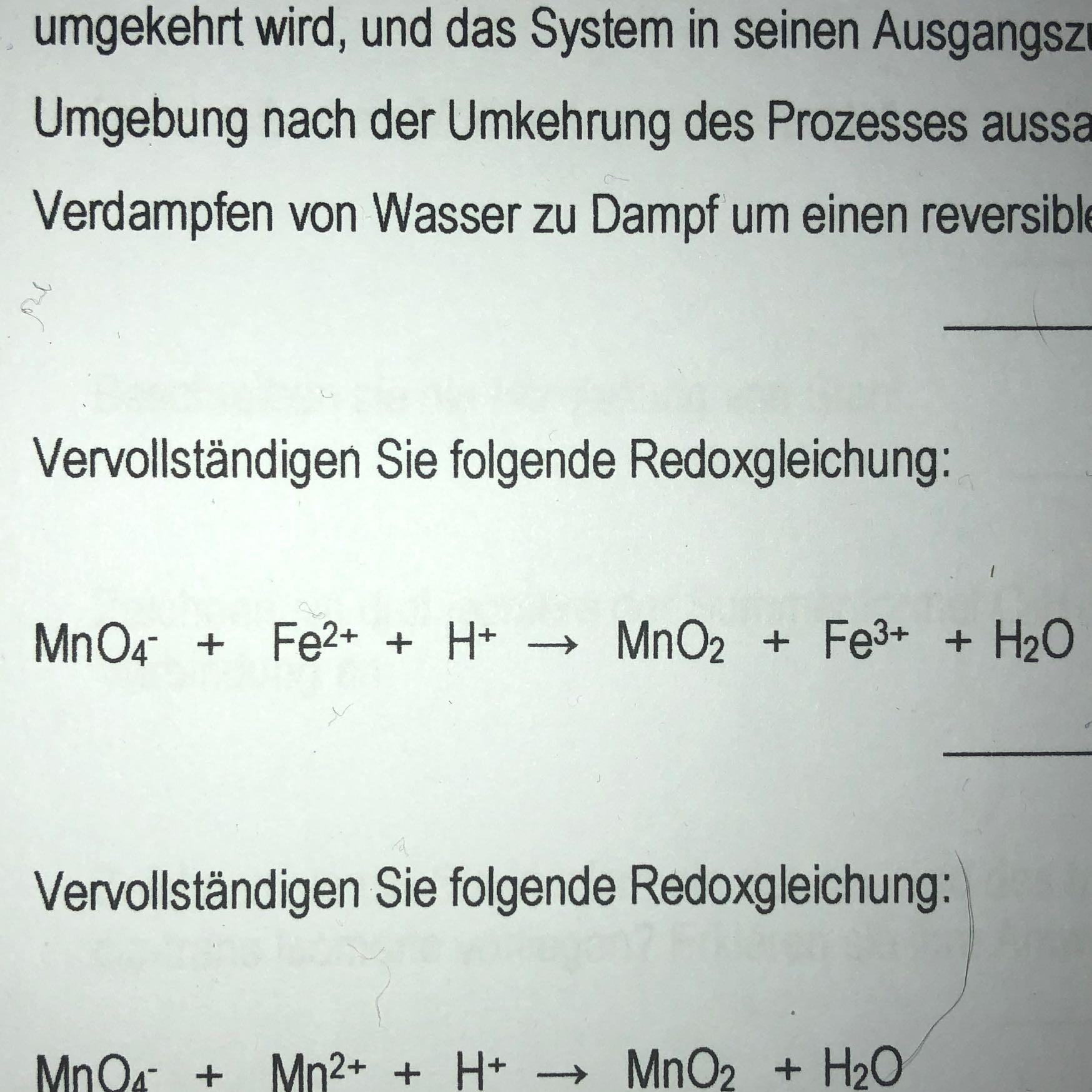 Redoxgleichung vervollständigen? (Schule, Chemie)