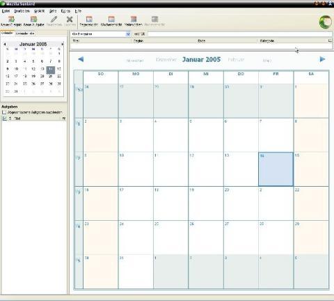 Screenshot - (Kalender, Thunderbird, Wochentage)