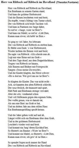Rhetorische Stilmittel Hilfe Theodor Fontane (Herr von Ribbeck auf Ribbeck im Havelland)?