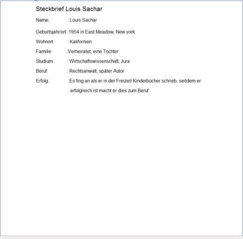 tabellarischer steckbrief von louis sachar schule autor steckbrief - Kurzer Lebenslauf