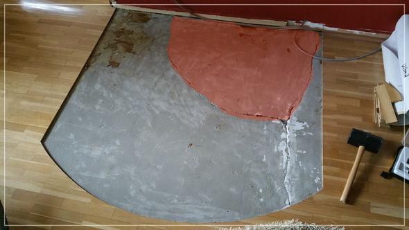Ofen(300kg) roter Bereich gibt nach bei Betreten, was ist zu tun? - (Estrich, Bodenrisse)