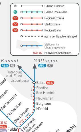 Liniennetzplan Fulda-Kassel - (Reise, Zug, DB)