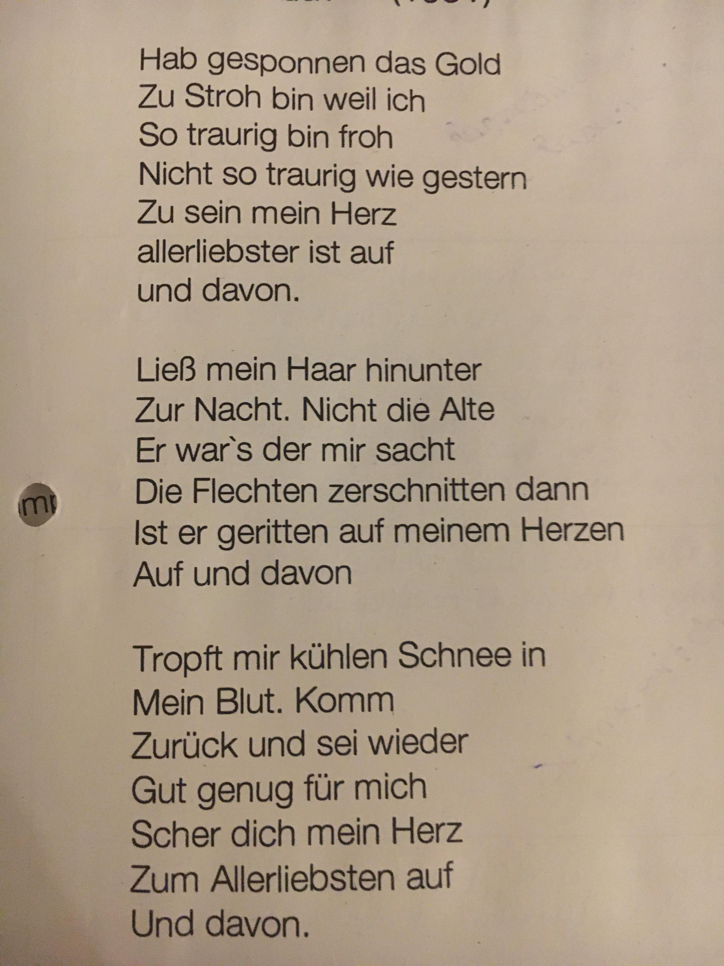 romantische Motive auf und davon Ulla Hahn? (Schule