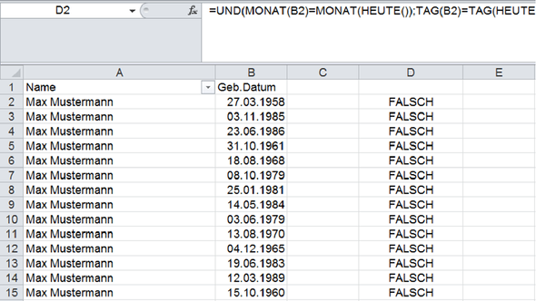 Geburtstagsliste - (Geburtstag, Excel, Formel)