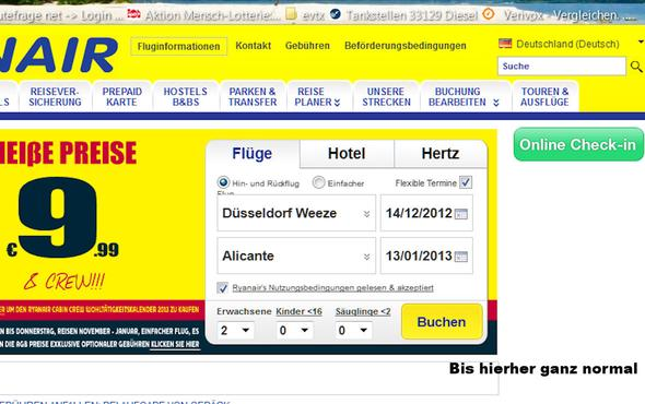 Startbild ist normal - nach 'Buchen' hängt es - (Internetseite, Firefox, Ryanair)