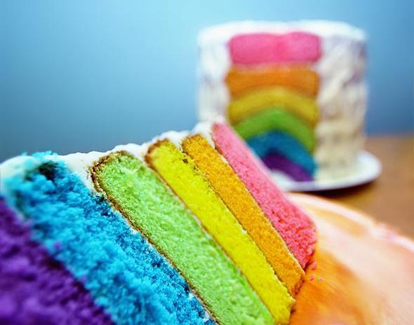Rainbow-cake - (backen, Kuchen, Schokolade)