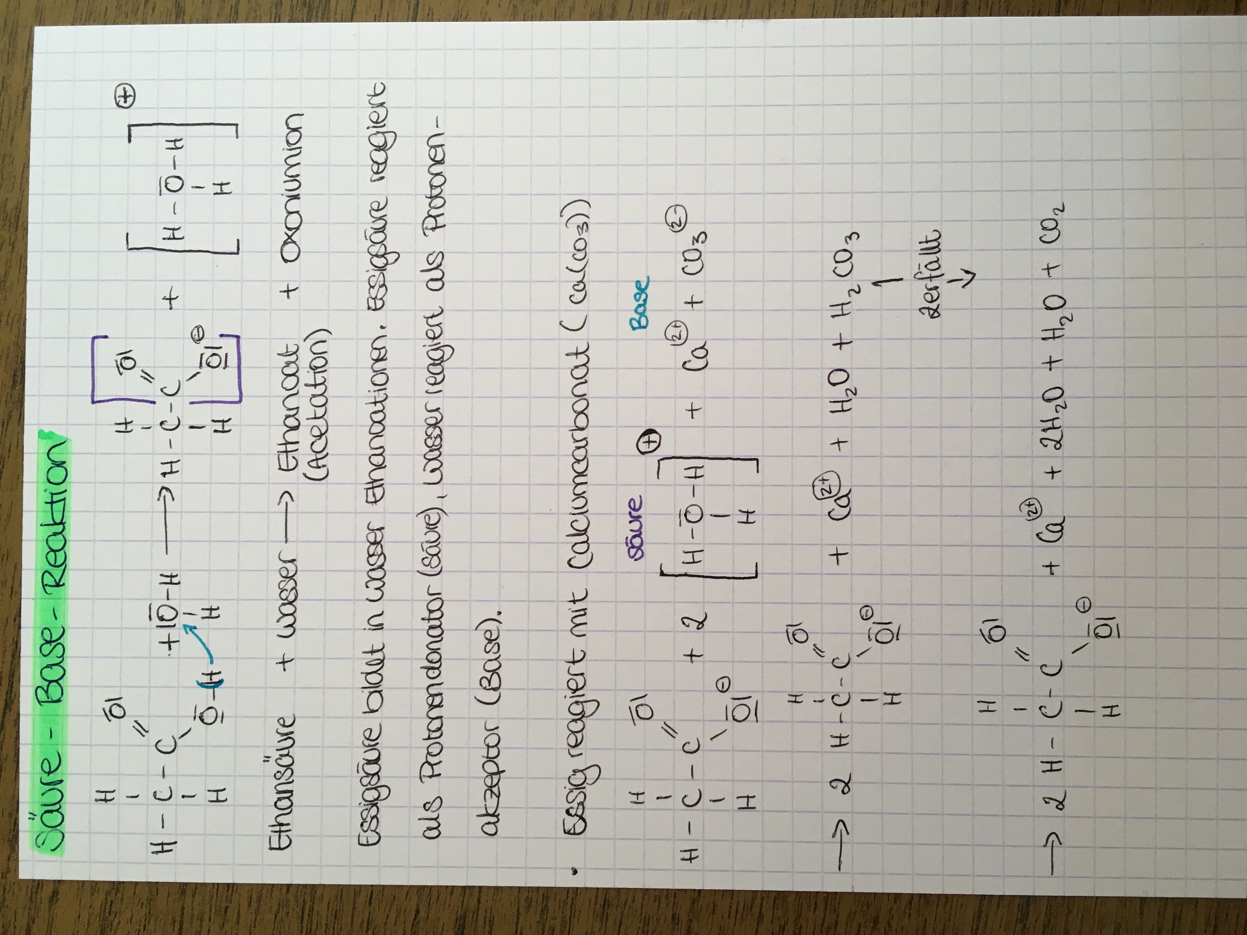 Säure-Base-Reaktion von Alkansäuren? (Schule, Chemie, organische Chemie)