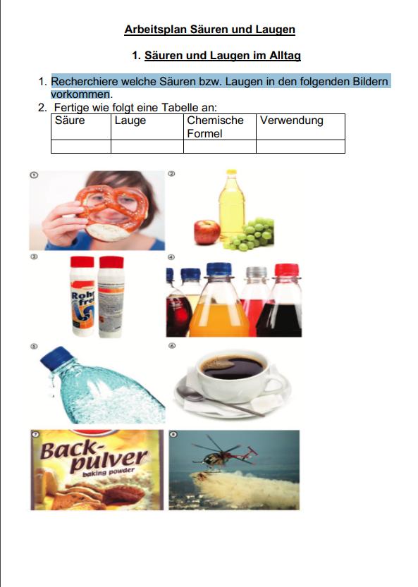 Säuren und Laugen im Alltag [Chemie Klasse 9]? (Schule ...