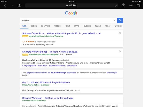 So sieht es jetzt aus - (Google, Design, Safari)
