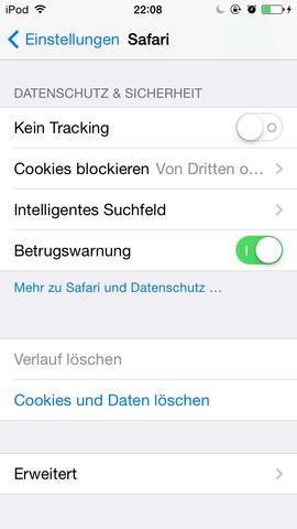 Einstellungen (Safari) - (Apple, iOS, Safari)